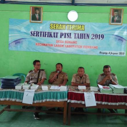 Penerimaan Sertifikat PTSL 2019 Desa Bonang